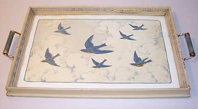 Antique Wood Serving Tray White Finish Brass Handles BLUEBIRD PRINT