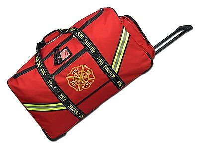 Fireman Firefighter Premium Rolling Bunker Turnout Gear Bag w Retractable Handle
