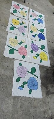 Vintage Floral Applique Quilt Patches Cotton Feed Sack 24