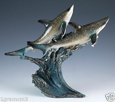 Pair of Sharks On Wave Figurine 6 Inch High Resin Glossy Finish New In Box!