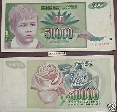 YUGOSLAVIA Boy 50,000 DINARA 1992 BANKNOTE Colorful Paper Money Foriegn Currency