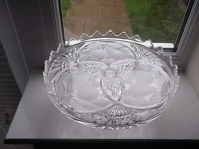 Lovely Vintage Large Pillar Frosted Fruit Decorated Raised Edge Cake Stand