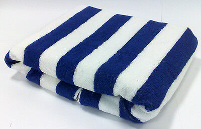 M100% COTTON BLUE STRIPED POOL SWIMMING BEACH TOWEL 75X150cm LARGE STRIPE TOWELS