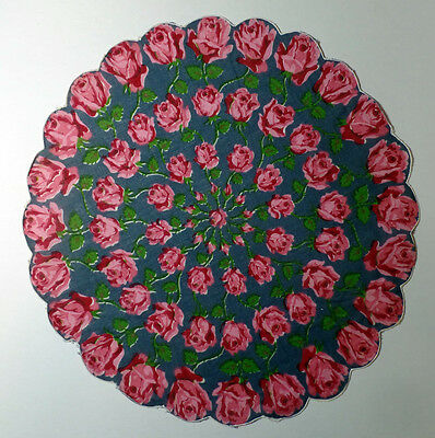 Round rose Patterned Handkerchief with scalloped edge – rose on blue background