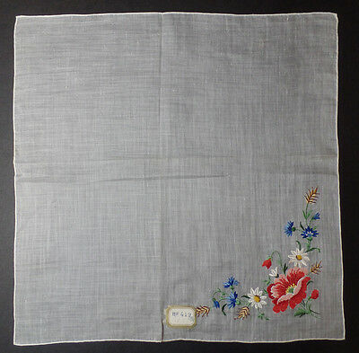 Vintage PETIT POINT Embroidered Mixed Bouquet Handkerchief w/ original tag #1