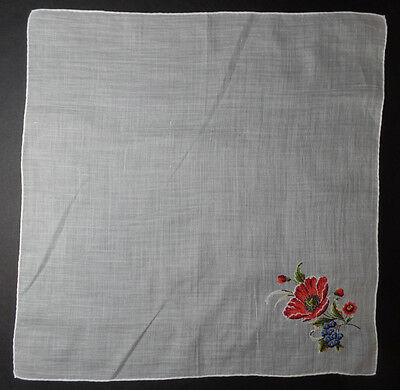 Vintage PETIT POINT Embroidered Mixed Bouquet Handkerchief  - perfect #2