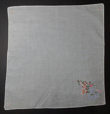 Vintage PETIT POINT Embroidered Mixed Bouquet Handkerchief  - perfect #3