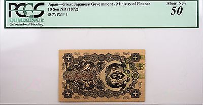 1872 Japan - Great Japanese Governement - 10 Sen AU 50 PCGS Cool Note!
