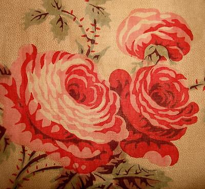 BEAUTIFUL MID 19th CENTURY FRENCH COTTON c1850, ROSES, PICOTAGE REF, PROJECTS