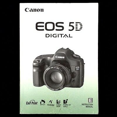 Canon EOS 5D Digital Camera Instruction Manual / Book, English #39116