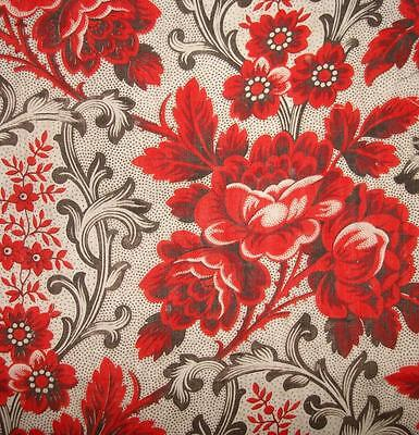 BEAUTIFUL FRAGMENT 19th CENTURY FRENCH BLOCK PRINT COTTON, ROSES, PICOTAGE