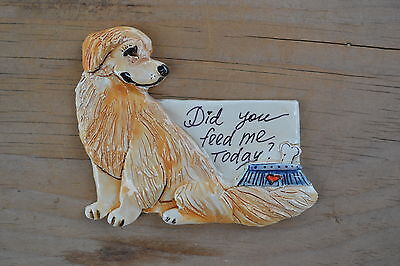 Golden Retriever.  Handsculpted ceramic magnet.   .OOAK .LOOK