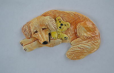 Golden Retriever.  Handsculpted ceramic magnet. Small  .OOAK .LOOK