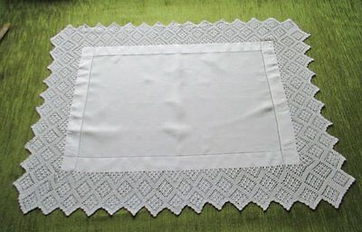ANTIQUE BUTLERS CLOTH-IRISH LINEN with HAND CROCHET TIRM