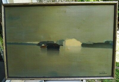"""Listed Artist Pierre Doutreleau Signed Oil On Canvas Painting """"Paysage"""" 24 x 36"""