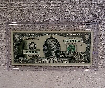 Kansas  $2 Two Dollar Bill - Colorized State Landmark - Uncirculated Authentic