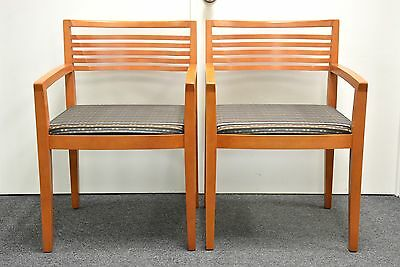 2 Knoll STUDIO Ricchio wood guest side chairs eames era SIGNED AUTHENTIC MODERN