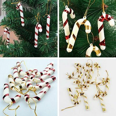 10PCS Christmas Candy Cane Ornaments Party Xmas Tree Hanging Decor Red/Gold