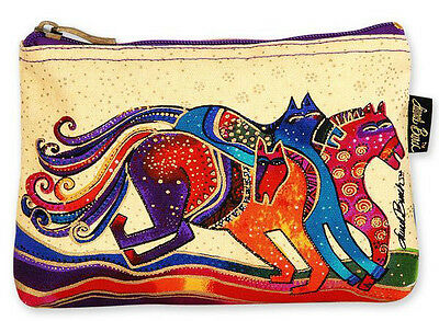 # New LAUREL BURCH Cosmetic Bag RAINBOW MARES Pouch Case Purse ART HORSE PONY