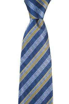 New BRIONI Italy Steel Blue Jacquard 100% Silk Handmade Neck Tie NWT $230!