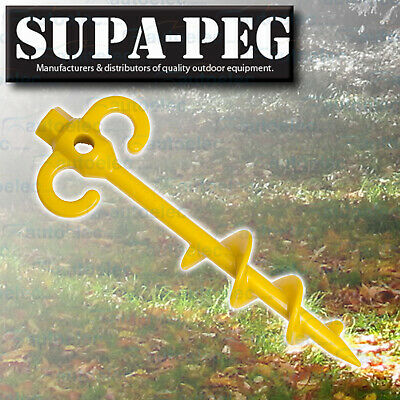 1x 300mm x 15mm SUPA-PEG SCREW TENT PEG POLYCARBONATE HEAVY DUTY ANNEX YELLOW