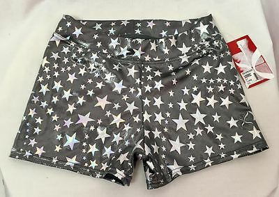 Capezio Silver Star Side Horse Shorts, Girls XL, New With Tags