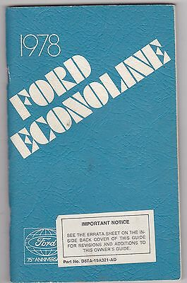 1978 FORD ECOLINE TRUCK vintage original car owners manual