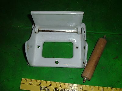 Cast Iron White Porcelain Toilet Paper Holder Bathroom w/ secret compartment