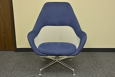 Excellent Coalesse Sw 1 High Back Lounge Chairs Blue Leather Open Gmtry Best Dining Table And Chair Ideas Images Gmtryco