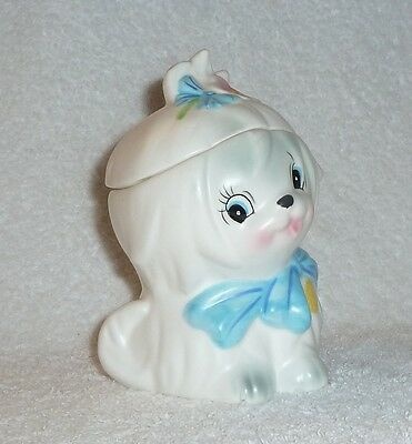 Vintage Lefton Toodles White Maltese Dog Sugar Jar Pink Flower Blue Bow