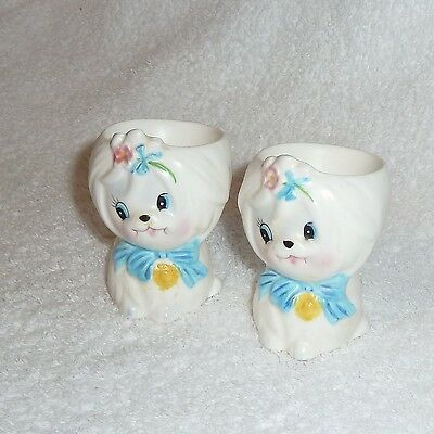 Vintage Lefton Mr. Toodles Egg Cup Pair 2 Maltese Dog Head White Puppy Poodle