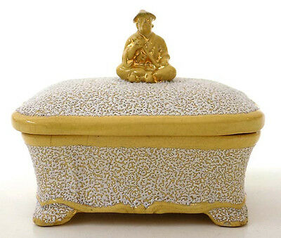 Antique Yellow & White Pottery Trinket Box Asian with Pipe Finial  A Tschinka