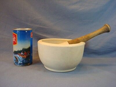 NICE LARGE OLD HEAVY APOTHECARY MORTAR & PESTLE SET ~ WOODEN HANDLE ~ ACID Co