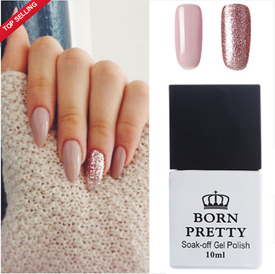 2Pcs 10ml Nail UV Gel Polish Soak Off Pink Rose Gold Nail Varnish BORN PRETTY