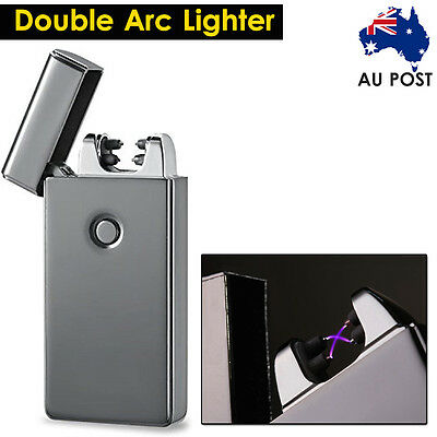 Windproof Lighter Electric USB Rechargeable Double Arc Flameless Plasma Torch AU