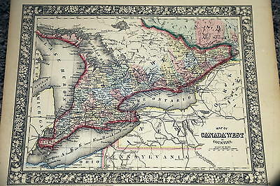 1860 Mitchell Antique Atlas Map-Canada West-Handcolored-Beautiful Border