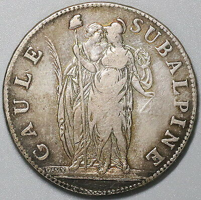 1801 PIEDMONT Republic Subalpine L'an 10 Silver 5 Francs Italy Crown (17041315R)