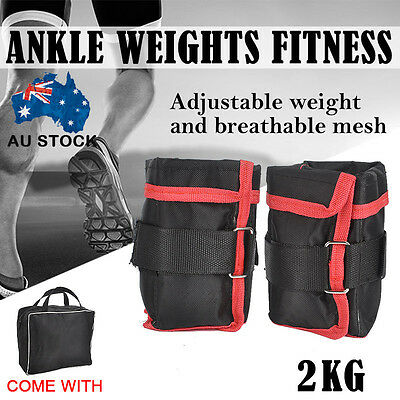 2x1KG Adjustable Wrist Ankle Weights Fitness Training Strap Exercise Gym