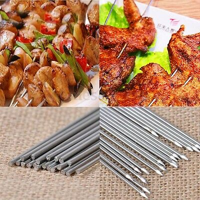 """10Pcs Stainless Steel BBQ Skewers Grill Stick Grill Barbecue Needle Kebab 14"""""""