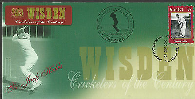 GRENADA WISDEN 2000 CRICKET SIR JACK HOBBS 1v FIRST DAY COVER No 4 of 4
