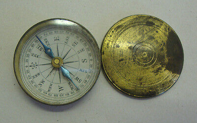 Antique brass cased with cover pocket compass