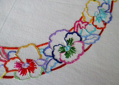 VINTAGE TABLECLOTH HAND EMBROIDERED with COLOURFUL PANSIES