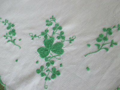 "VINTAGE IRISH TABLECLOTH EMBROIDERED SHAMROCKS-LINEN-34""sq."