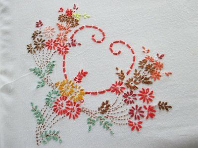 VINTAGE TABLECLOTH - HAND EMBROIDERED with FLOWERS