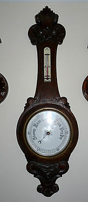 Antique Oak Cased Aneroid Barometer Thermometer