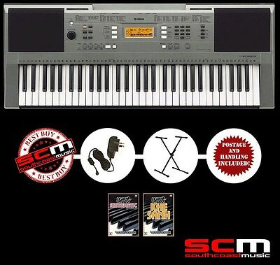 YAMAHA PSRE353 ELECTRONIC KEYBOARD DELUXE PACK w STAND ADAPTOR & DOUBLE DVD PACK