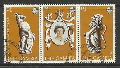 GAMBIA 1978 Queen Elizabeth II CORONATION Strip of 3 FINE USED
