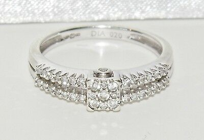 9ct White Gold 0.20ct Diamond Cluster Engagement Ring - size K