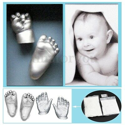 Baby Hand Foot Casting 200g Molding Powder Casting Stone + Silver Paint Powder