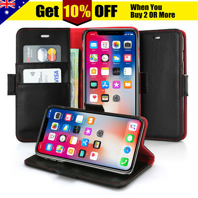 Apple iPhone X XS MAX XR 6s 7 8 Plus Genuine Leather Flip Wallet Card Case Cover